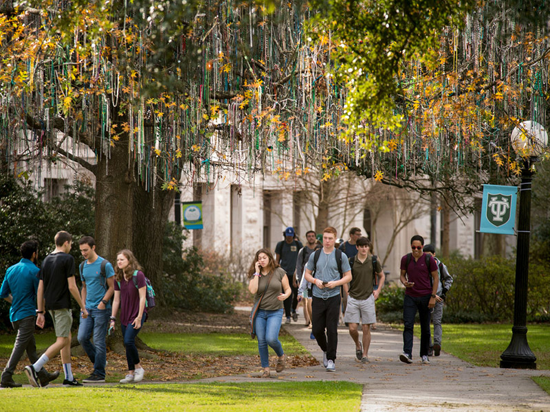 "Students pass under the ""bead tree"" as they walk to and from class."