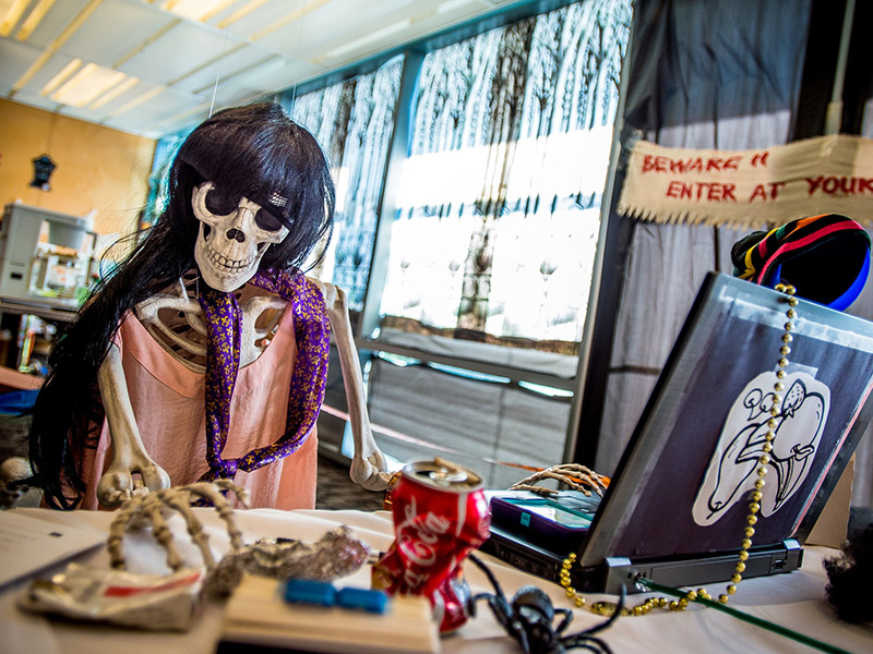 """A ghastly group mans the """"Hazard House"""" during the third annual Risk and Safety Summit in the Lavin-Bernick Center on the Tulane University uptown campus."""